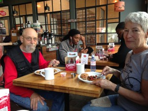 Al and Charlie at breakfast.