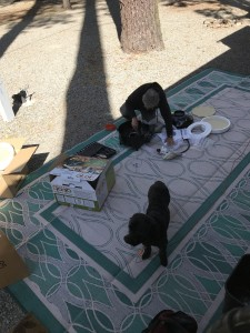 Assemblying the PizzaPronto portable pizza oven with doggie advice.